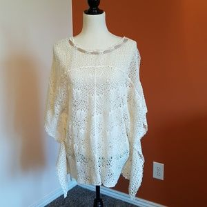 Crocheted sheer cotton top.